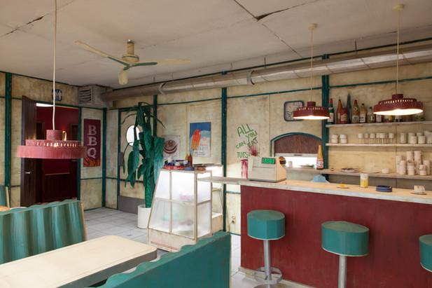 RINUS VAN DE VELDE Prop, Diner, 2017 - 2019 cardboard, paint, wood and mixed media 410 x 690 x 290 cm
