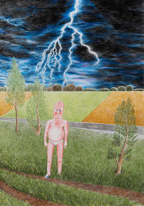 DENNIS TYFUS Lightning Bolt, 2020 colored pencil on paper 100 x 70 cm 110,3 x 80,8 x 4 cm (frame)