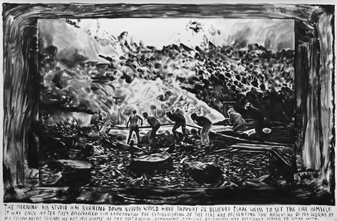 RINUS VAN DE VELDE 'The morning his studio was burning down…', 2016 charcoal on paper, 160 x 240 cm