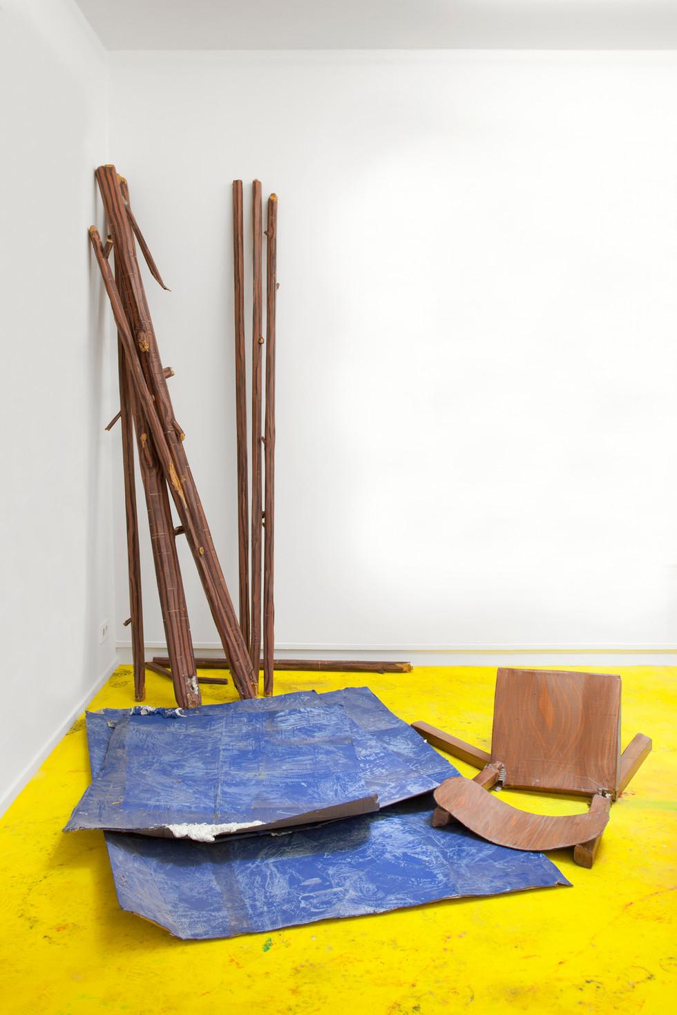 RINUS VAN DE VELDE,  Prop, Raft, Wooden Sticks, Sheets of Water & Broken Chair, 2017