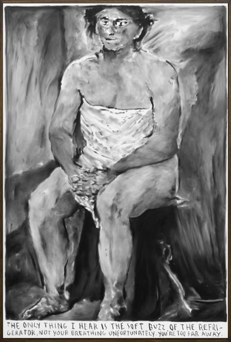 RINUS VAN DE VELDE The only thing I hear..., 2020 charcoal on canvas, artist frame 162 x 111 cm