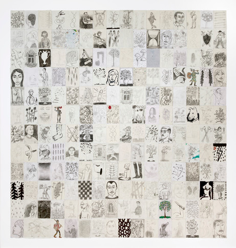 BEN SLEDSENS Two Trees, 2018 collage of 192 drawings, mixed media on paper 199 x 188 cm (framed)