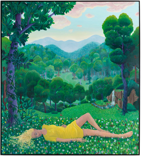 BEN SLEDSENS Girl Lying in the Grass, 2019 - 2020 oil and acrylic on canvas 230 x 210 cm