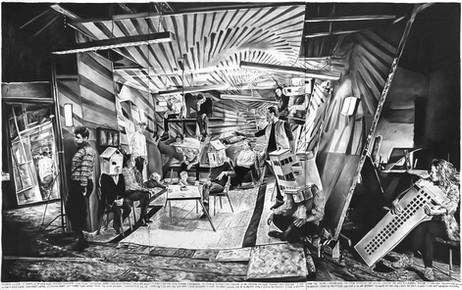 RINUS VAN DE VELDE Insanity exceeds the borders of the single mind,..., 2015 charcoal on canvas 300 x 480 cm