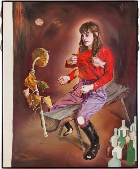 KATI HECK Verspätete Sitzung, 2019 oil on canvas, artist frame with wooden sculpture 200 x 160 cm