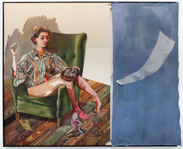 KATI HECK Schlüssel-Bund, 2016 oil on stitched canvas, 203 x 253 cm