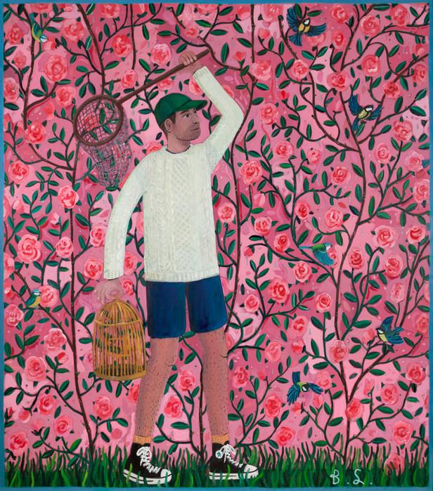 BEN SLEDSENS The Bird Catcher, 2018 oil and acrylic on canvas 200 x 175 cm