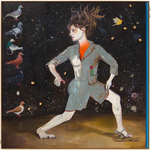 KATI HECK Ins Dunkel!, 2020 oil, golden horse apples on stitched canvas, artist frame 220 x 200 cm