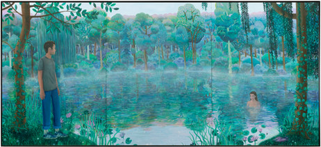 BEN SLEDSENS Morning Encounter, 2019 - 2020 3 panels, oil, acrylic and spray paint on canvas 250 x 555 cm