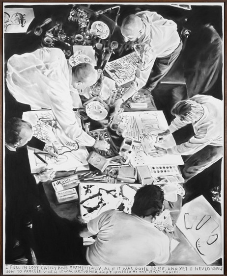RINUS VAN DE VELDE I fell in love easily and pathetically, 2021 charcoal on canvas, artist frame 205 x 166 cm