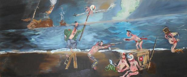 AARON VAN ERP Strandfeestje waarvan binnenkort een verslag verschijnt op de facebookpagina van het H. P. Lovecraftgenootschap, 2013 oil on canvas 120 x 300 cm