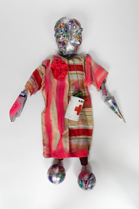 MARCEL DZAMA The prophet's puppet (or The sadness of the time that has passed), 2020 cloth, fabric, spray paint, ink, tin, printed steel, leather,felt, faux flower, leather, rope, metal and acrylic glass 105,6 x 77,4 x 33,7 cm