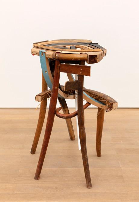 GELATIN Finn, 2019 wood, used furniture parts, metal 71 x 53 x 46 cm