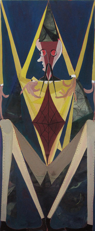 TOMASZ KOWALSKI Spider, 2010 collage, gouache on paper, mounted on wood 75 x 32 cm