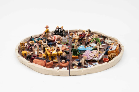 RINUS VAN DE VELDE We are all condemned to one another, 2020 glazed ceramic ⌀ 93 x 15 cm (glazed ceramic), 26 x 102 x 102 cm (pedestal)