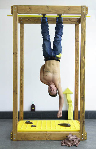 ADAM JANES, working out major hang up, 2008