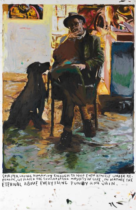 RINUS VAN DE VELDE Spirited loving humanity... , 2019 oil pastel on paper 110,1 x 70,6 cm