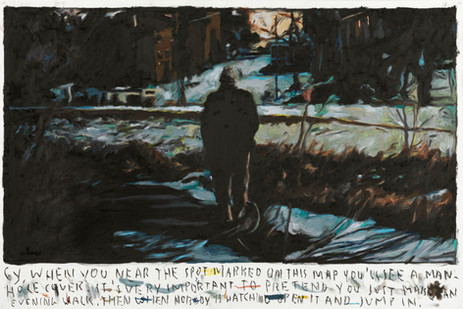 RINUS VAN DE VELDE Cy, when you're near the spot marked on this map,..., 2021 oil pastel on paper 73,4 x 110,4 cm