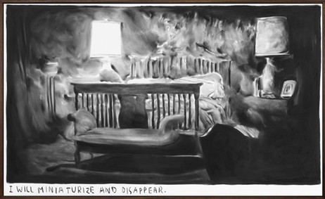 RINUS VAN DE VELDE I will miniaturize and disappear., 2019 charcoal on canvas, artist frame 72 x 119 cm
