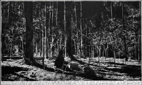 RINUS VAN DE VELDE Walk east 2467 steps through the forest,…, 2017 charcoal on canvas, artist frame 240 x 400 cm