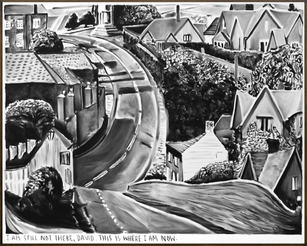 RINUS VAN DE VELDE I am still not there, David., 2019 charcoal on canvas, artist frame 180 x 224 cm