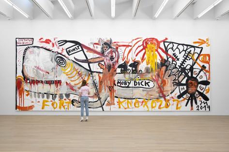 JONATHAN MEESE DIKTATUR der Kunstknüppel aus dem Sack: Übung Macht den Meisterz (Daddy d'Ahab is back), 2019 5 panels, acrylic on canvas 360 x 950 cm