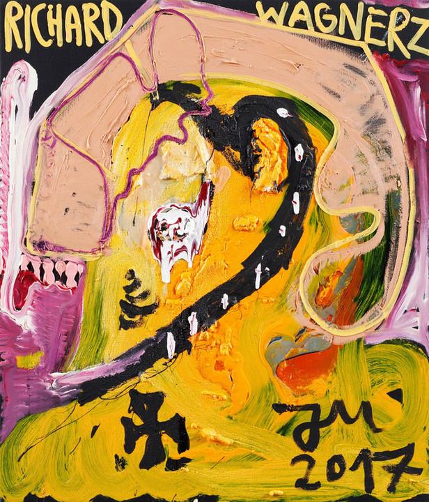 JONATHAN MEESE RICHARD WAGNER'S VAN GOGH, 2017 oil, acrylic, acrylic paste and Caparol-dispersion binder on canvas 140,4 x 120,3 x 3,3 cm
