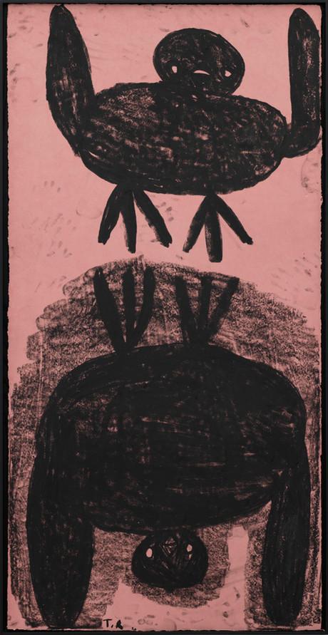 TAL R Bird Up Bird Down, 2020 oil stick on handmade colored paper 200 x 100 cm
