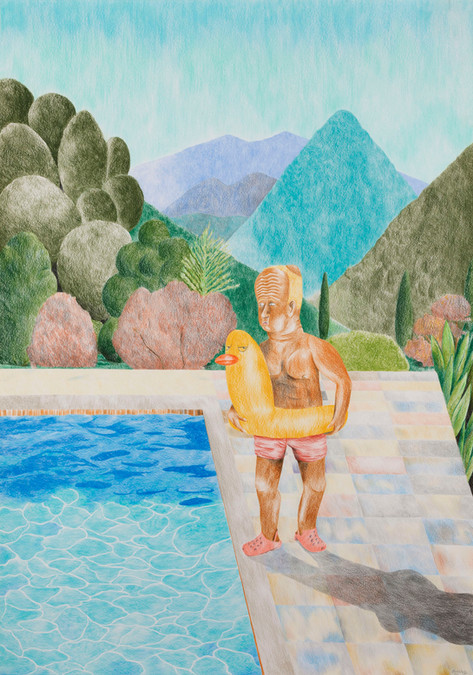 DENNIS TYFUS Portrait of An Artist (Pool With One Figure), 2020 colored pencil on paper 100 x 70 cm