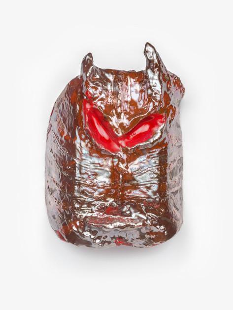 JONATHAN MEESE DIE TYRANNOSAURUS REXMASKE! (ABER BITTE MIT SAHNE), 2020 glazed ceramic, artist pedestal 43 x 31 x 15 cm 99 x 40 x 40 cm (pedestal)