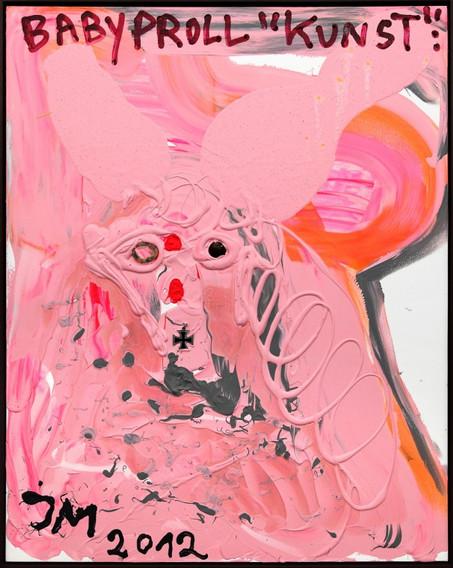 """JONATHAN MEESE, KUNST ≠ KREATIVITÄT: DIE """"DIKTATUR DER KUNST"""" PASSIERT, WIE DR. JOESEY SAUSCHNURRT IM SCHRITTI…, 2012"""