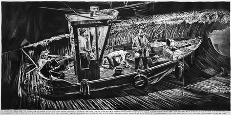 RINUS VAN DE VELDE On board of the Conrad, things take a weird turn., 2016 charcoal on canvas 300 x 600 cm