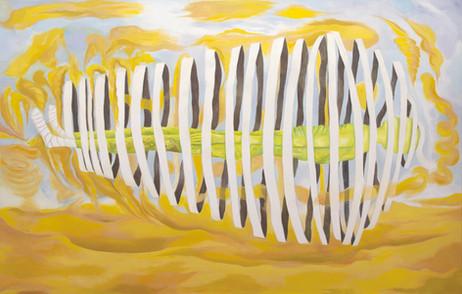 TOMASZ KOWALSKI Unraveling Mummy, 2018 oil on canvas 189 x 299 cm