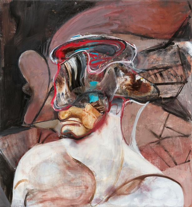 ADRIAN GHENIE Self-Portrait with Picassoesque Background, 2020 oil on canvas 80 x 74 cm