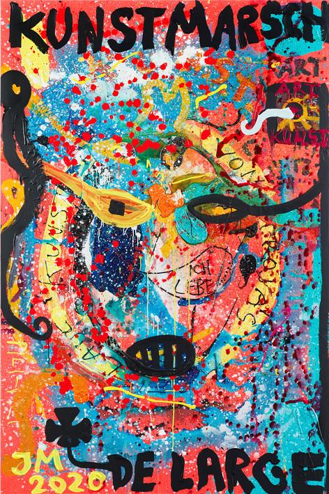 JONATHAN MEESE JANEIN: DER ULTIMATIVE AUFMACHERZ MACHT DAS BÖSE AUF UND ZU!, 2020 acrylic on canvas 270,4 x 180,3 x 3,3 cm