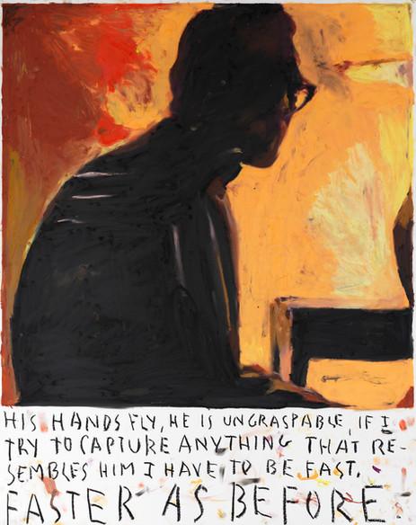 RINUS VAN DE VELDE His hands fly ..., 2020 oil pastel on paper 93,1 x 73,2 cm