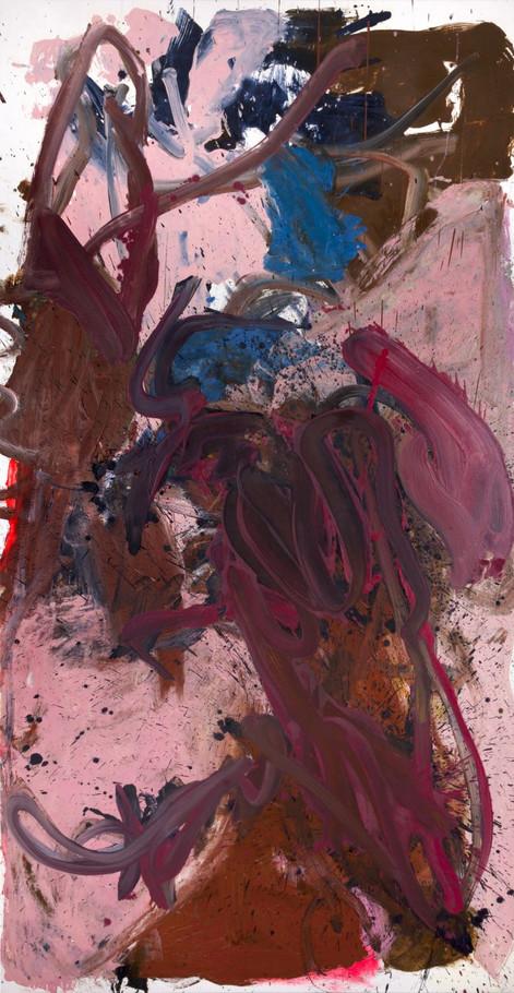 ANKE WEYER Good Hand Stupid Fingers, 2018 oil and acrylic on canvas 198 x 101,5 cm