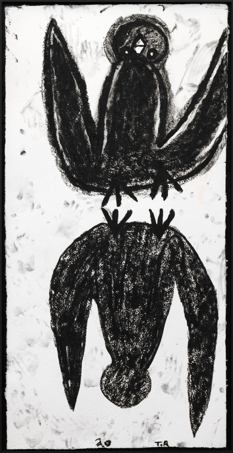 TAL R Bird Up Bird Down, 2020 oil stick on handmade paper 200 x 100 cm