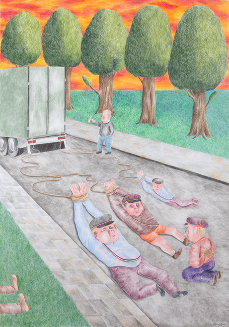 DENNIS TYFUS We Are The Roadcrew, 2020 colored pencil on paper 100 x 70 cm 110,3 x 80,8 x 4 cm (frame)