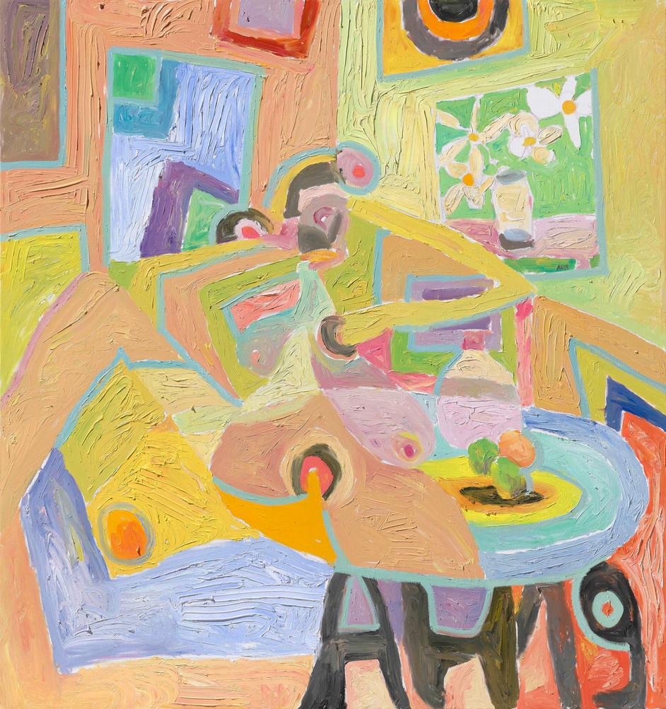 ANTON HENNING Interieur mit Pin-up und Früchten, No. 2, 2019 oil on canvas 160,3 x 150 cm
