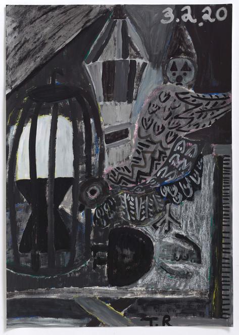TAL R Winter, sleep, egg & Polda, 2020  gouache on paper  102 x 72 cm