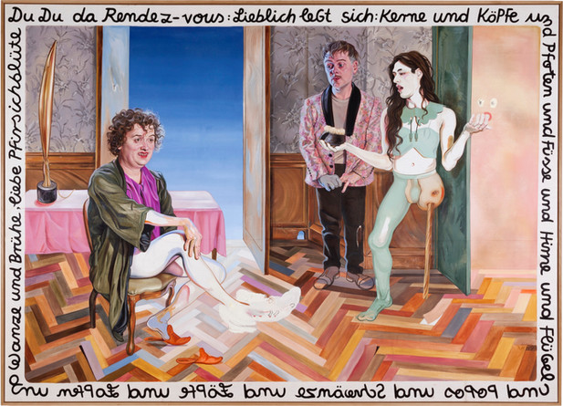 KATI HECK Probe Pflanzung, 2019 oil on canvas, artist frame with painting 250 x 350 cm