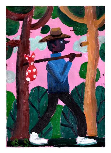 BEN SLEDSENS, Wanderer between Two Trees, 2018
