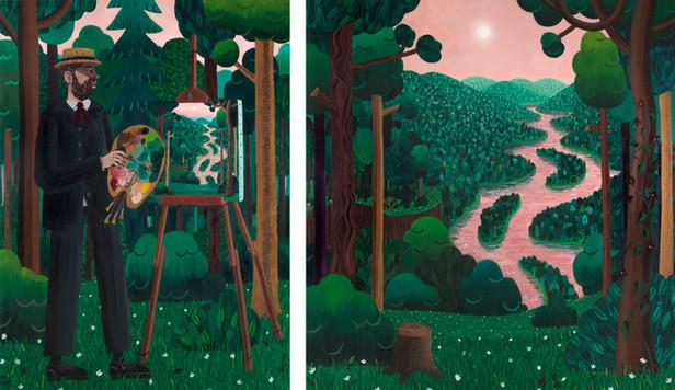BEN SLEDSENS The Landscape Painter, 2018 oil, acrylic and spraypaint on canvas, diptych 200 x 150 cm, 200 x 190 cm