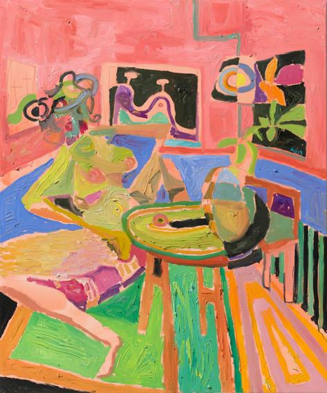 ANTON HENNING Interieur mit Pin-up und Blumenstilleben, No. 1, 2019 oil on canvas 180 x 150 cm