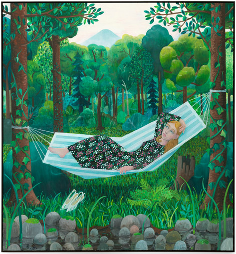 BEN SLEDSENS Girl in the Hammock, 2019 oil and acrylic on canvas 225 x 210 cm