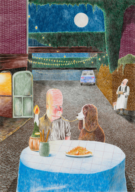 DENNIS TYFUS Tyfus And The Tramp, 2020 colored pencil on paper 100 x 70 cm 110,3 x 80,8 x 4 cm (frame)