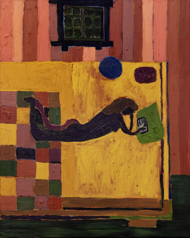 TAL R Girl reading B.S, 2018 oil on canvas 125,2 x 100,2 x 6 cm