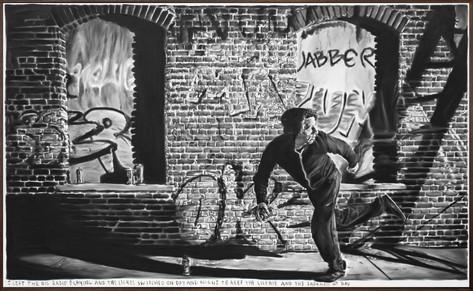RINUS VAN DE VELDE I left the big radio playing..., 2020 charcoal on canvas, artist frame 170 x 277 cm