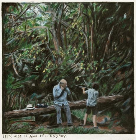 RINUS VAN DE VELDE Let's hide it and tell nobody., 2018 color pencil on paper 16,2 x 16 cm